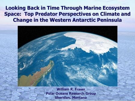 Looking Back in Time Through Marine Ecosystem Space: Top Predator Perspectives on Climate and Change in the Western Antarctic Peninsula William R. Fraser.