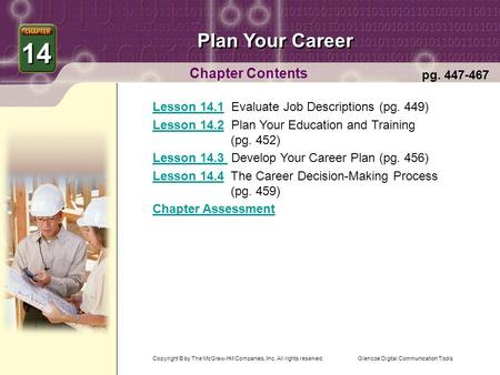 Glencoe Digital Communication Tools Plan Your Career Chapter Contents 14 pg. 447-467 Lesson 14.1Lesson 14.1 Evaluate Job Descriptions (pg. 449) Lesson.