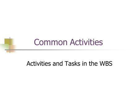 Common Activities Activities and Tasks in the WBS.