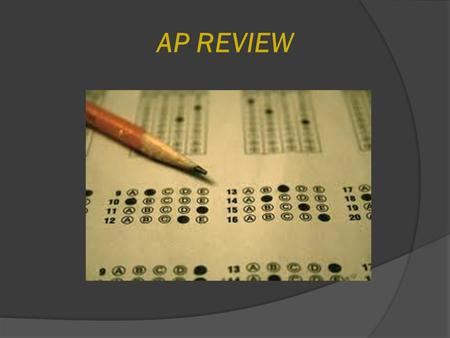 AP REVIEW. Today's Class  Announcements: MANDATORY AP ASSEMBLY NEXT WEEK DURING CONFERENCE PERIOD IN THE AUDITORIUM: ○ Monday, April 20 Freshmen & Sophomores: