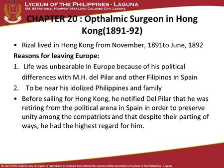 chapter 20 ophthalmic surgeon in hongkong 1891 92 Ophthalmic surgeon in hong kong (1891-92) chapter 20 after the publication of el fili, rizal left europe for hong kong (nov 1891 - june 1892) reasons for leaving europe.