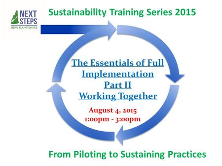 Sustainability Training Series 2015 From Piloting to Sustaining Practices August 4, 2015 1:00pm - 3:00pm The Essentials of Full Implementation Part II.