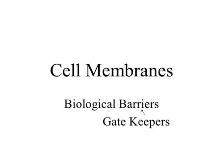 Cell Membranes Biological Barriers Gate Keepers. Biological Membranes composition –phospholipids & other membrane lipids (~50% by mass) –various proteins.