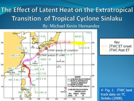By: Michael Kevin Hernandez Key JTWC ET onset JTWC Post ET  Fig. 1: JTWC best track data on TC Sinlaku (2008). ECMWF analysis ET completion ECMWF analysis.