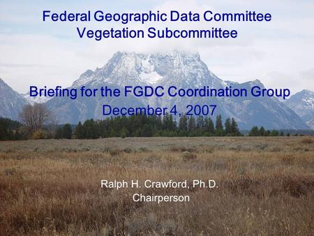 12/04/07FGDC Vegetation Subcommittee Briefing Federal Geographic Data Committee Vegetation Subcommittee Briefing for the FGDC Coordination Group December.