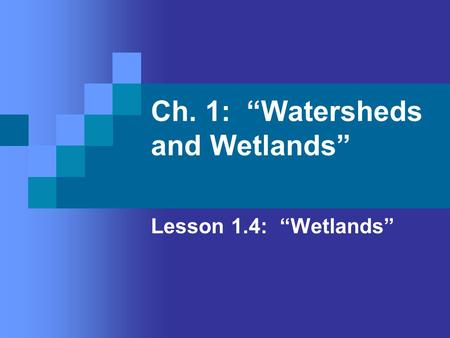 "Ch. 1: ""Watersheds and Wetlands"" Lesson 1.4: ""Wetlands"""