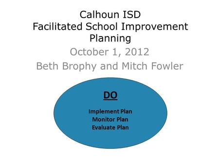 Calhoun ISD Facilitated School Improvement Planning October 1, 2012 Beth Brophy and Mitch Fowler DO Implement Plan Monitor Plan Evaluate Plan.