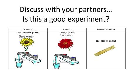 Discuss with your partners… Is this a good experiment? Pure water.