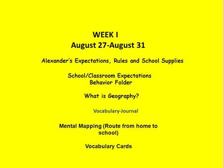 WEEK I August 27-August 31 Alexander's Expectations, Rules and School Supplies School/Classroom Expectations Behavior Folder What is Geography? Vocabulary-Journal.