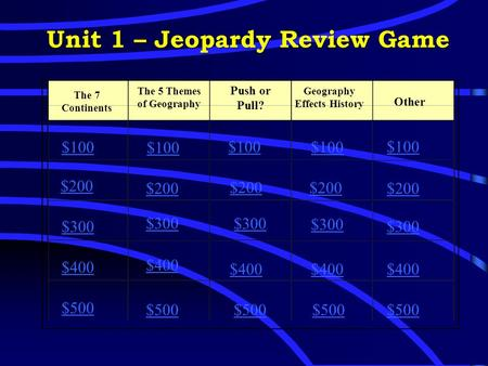 Unit 1 – Jeopardy Review Game The 7 Continents The 5 Themes of Geography Push or Pull? Geography Effects History Other $100 $200 $300 $400 $500 $100 $200.