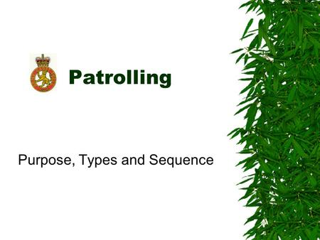 Patrolling Purpose, Types and Sequence. Training Value  Basis of good soldiering  Skills learned are transferable to many other areas –Discipline –Detailed.