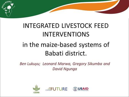INTEGRATED LIVESTOCK FEED INTERVENTIONS in the maize-based systems of Babati district. Ben Lukuyu; Leonard Marwa, Gregory Sikumba and David Ngunga.