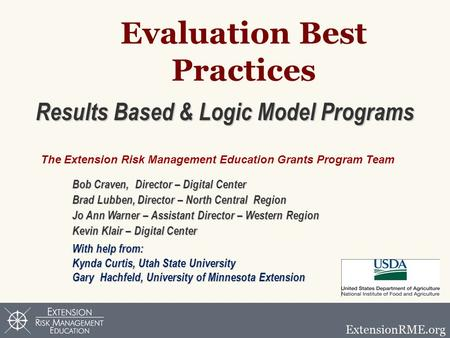 Evaluation Best Practices Results Based & Logic Model Programs Bob Craven, Director – Digital Center Brad Lubben, Director – North Central Region Jo Ann.