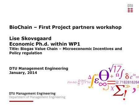 BioChain – First Project partners workshop Lise Skovsgaard Economic Ph.d. within WP1 Title: Biogas Value Chain – Microeconomic Incentives and Policy regulation.