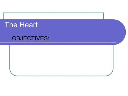 The Heart OBJECTIVES:. OBJECTIVES Orientation of heart in thorax Explain the circuits of blood flow Gross Anatomy of Heart Blood Flow to the Heart Muscle.