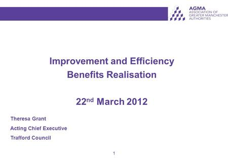 1 Improvement and Efficiency Benefits Realisation 22 nd March 2012 Theresa Grant Acting Chief Executive Trafford Council.