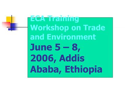 ECA Training Workshop on Trade and Environment June 5 – 8, 2006, Addis Ababa, Ethiopia.