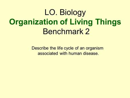LO. Biology Organization of Living Things Benchmark 2 Describe the life cycle of an organism associated with human disease.