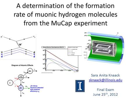 A determination of the formation rate of muonic hydrogen molecules from the MuCap experiment Sara Anita Knaack Final Exam June 25.