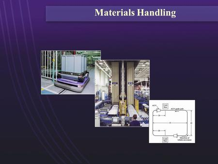 Materials Handling. To review modern technologies for material handling: - Part handling - AGV's - AS/RS - conveyors To consider application conditions.