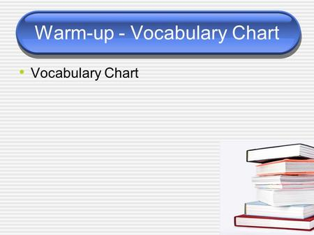 Warm-up - Vocabulary Chart Vocabulary Chart. Today's Schedule Vocabulary List #6 Vocabulary Quiz Relative Clauses Thesis statement generator and work.