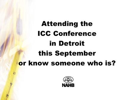 Attending the ICC Conference in Detroit this September or know someone who is?