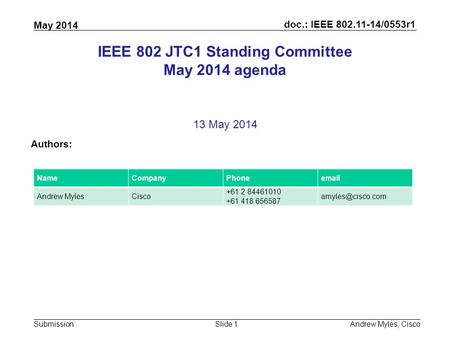 Doc.: IEEE 802.11-14/0553r1 Submission May 2014 Andrew Myles, CiscoSlide 1 IEEE 802 JTC1 Standing Committee May 2014 agenda 13 May 2014 Authors: NameCompanyPhoneemail.