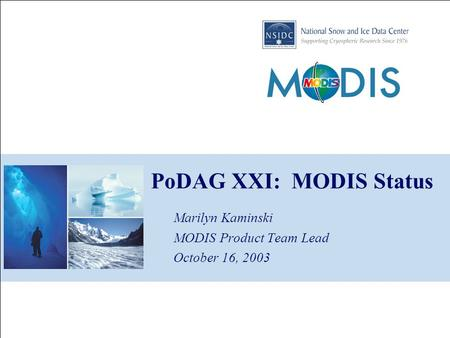 PoDAG XXI: MODIS Status Marilyn Kaminski MODIS Product Team Lead October 16, 2003.
