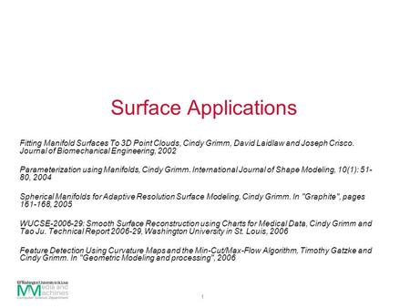 1 Surface Applications Fitting Manifold Surfaces To 3D Point Clouds, Cindy Grimm, David Laidlaw and Joseph Crisco. Journal of Biomechanical Engineering,
