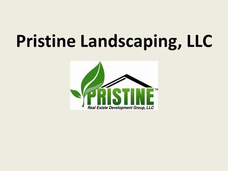 Pristine Landscaping, LLC. Company Description Established March 4 th, 2011 Pristine Real Estate Development Group, LLC Residential and commercial Lawn.