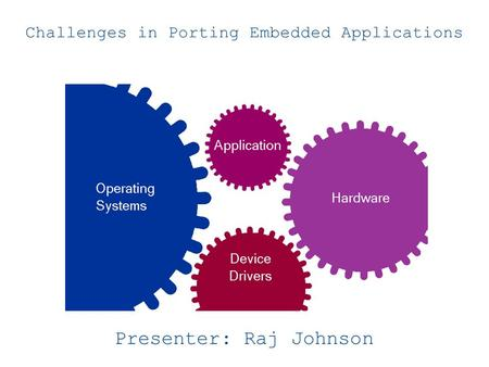 Challenges in Porting Embedded Applications Presenter: Raj Johnson.