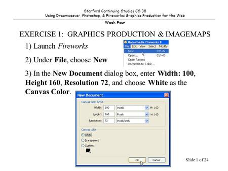 Slide 1 of 24 1) Launch Fireworks 2) Under File, choose New 3) In the New Document dialog box, enter Width: 100, Height 160, Resolution 72, and choose.