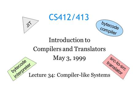CS412/413 Introduction to Compilers and Translators May 3, 1999 Lecture 34: Compiler-like Systems JIT bytecode interpreter src-to-src translator bytecode.