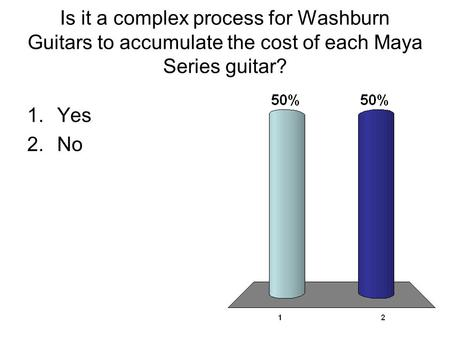 Is it a complex process for Washburn Guitars to accumulate the cost of each Maya Series guitar? 1.Yes 2.No.