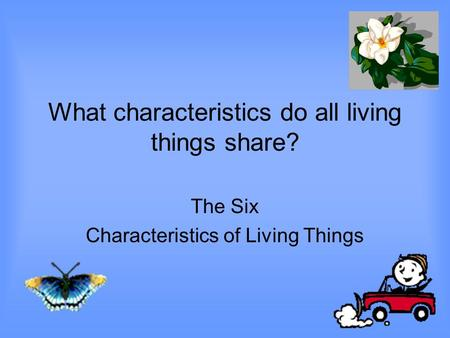 What characteristics do all living things share? The Six Characteristics of Living Things.