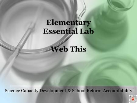 Elementary Essential Lab Web This Science Capacity Development & School Reform Accountability.