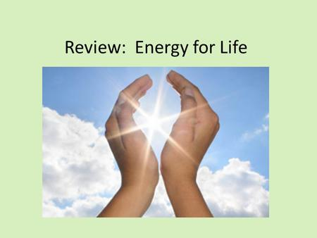 Review: Energy for Life. 1. Define the following and explain their importance. a.Photosynthesis – b.Cell respiration – c.Glucose - The way plants make.