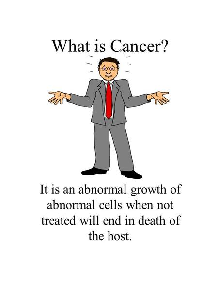 What is Cancer? It is an abnormal growth of abnormal cells when not treated will end in death of the host.