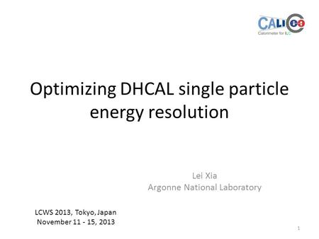 Optimizing DHCAL single particle energy resolution Lei Xia Argonne National Laboratory 1 LCWS 2013, Tokyo, Japan November 11 - 15, 2013.