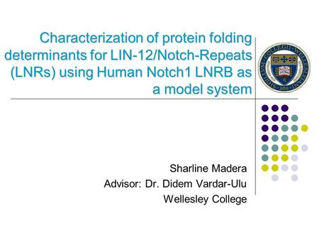 Characterization of protein folding determinants for LIN-12/Notch-Repeats (LNRs) using Human Notch1 LNRB as a model system Sharline Madera Advisor: Dr.