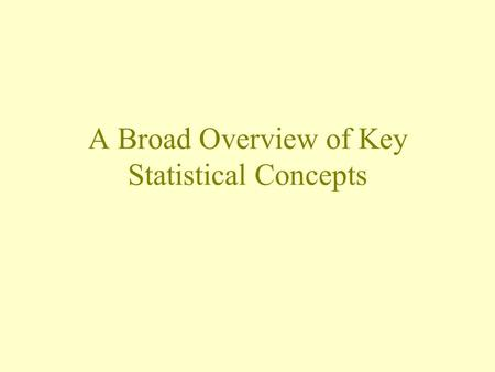 A Broad Overview of Key Statistical Concepts. An Overview of Our Review Populations and samples Parameters and statistics Confidence intervals Hypothesis.