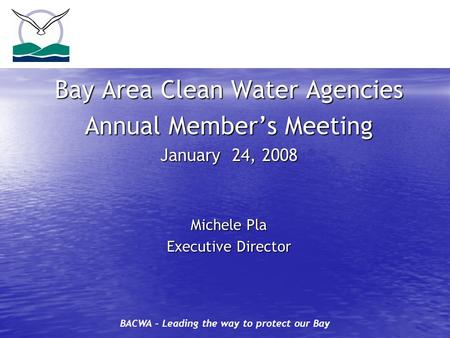BACWA – Leading the way to protect our Bay Bay Area Clean Water Agencies Annual Member's Meeting January 24, 2008 Michele Pla Executive Director.
