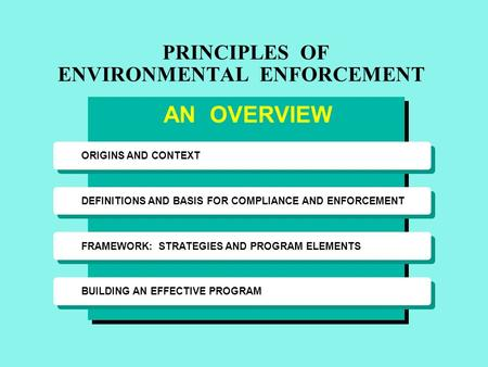 ORIGINS AND CONTEXT DEFINITIONS AND BASIS FOR COMPLIANCE AND ENFORCEMENT FRAMEWORK: STRATEGIES AND PROGRAM ELEMENTS BUILDING AN EFFECTIVE PROGRAM PRINCIPLES.