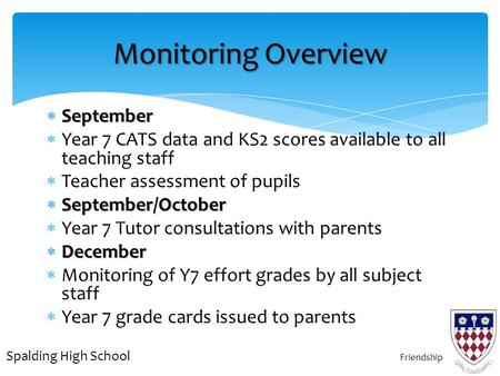  September  Year 7 CATS data and KS2 scores available to all teaching staff  Teacher assessment of pupils  September/October  Year 7 Tutor consultations.