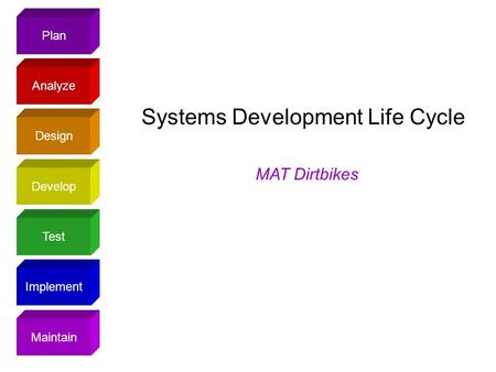 Plan Design Analyze Develop Test Implement Maintain Systems Development Life Cycle MAT Dirtbikes.