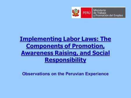 Implementing Labor Laws: The Components of Promotion, Awareness Raising, and Social Responsibility Observations on the Peruvian Experience.