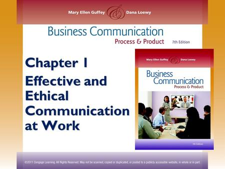 Chapter 1 Effective and Ethical Communication at Work.
