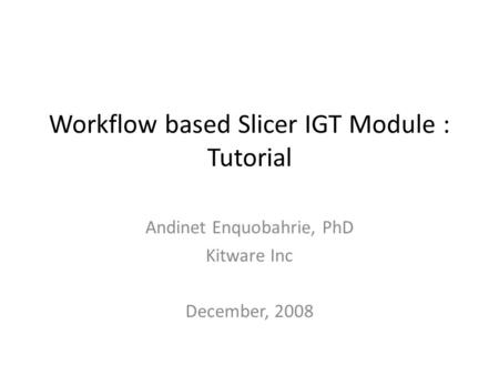 Workflow based Slicer IGT Module : Tutorial Andinet Enquobahrie, PhD Kitware Inc December, 2008.