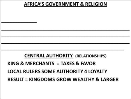AFRICA'S GOVERNMENT & RELIGION _____________ _______________________________________________ _______________________________________________ _______________________________________________.