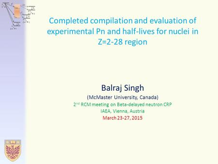 Completed compilation and evaluation of experimental Pn and half-lives for nuclei in Z=2-28 region Balraj Singh (McMaster University, Canada) 2 nd RCM.